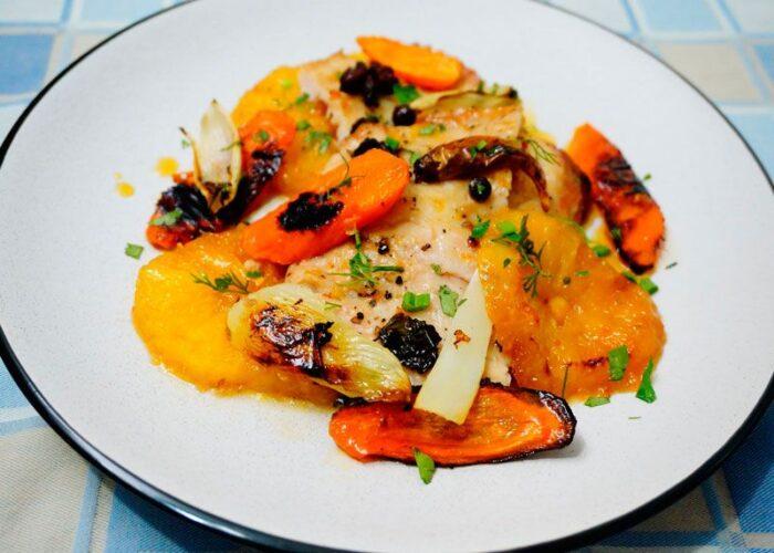 Скат с овощами